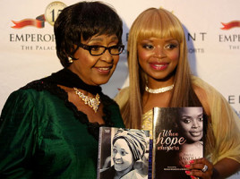 Winnie Madikizela-Mandela and Zoleka Mandela at the launch of Zoleka's autobiography 'When Hope Whispers'. Picture: Sebabatso Mosamo/EWN.